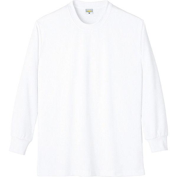 【ワークウェア・作業用ポロシャツ】小倉屋 制電シリーズ DRY帯電防止長袖Tシャツ ホワイト 8121-90-L 1枚(直送品)