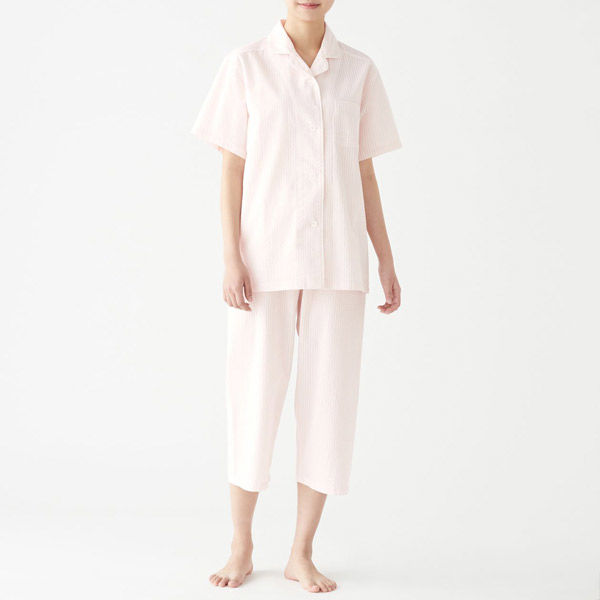 無印 サッカー織り半袖パジャマ 紳士XL