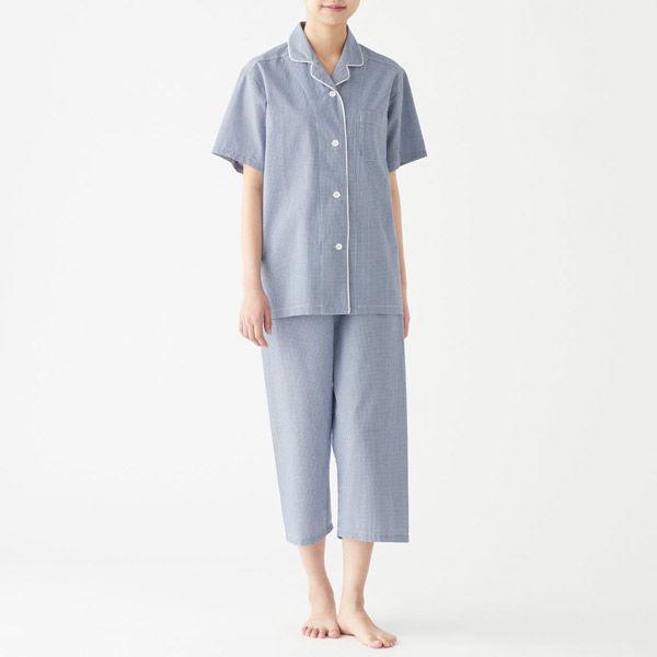 無印 サッカー織り半袖パジャマ 婦人 L