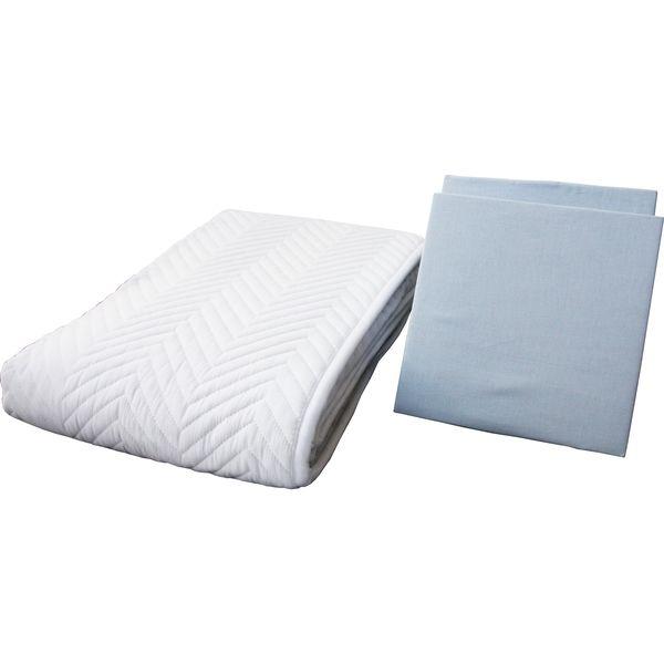 鈴屋 ベッドパッド&ボックスシーツ2枚 お手軽3点パック ワイドダブル ブルー 1セット(直送品)