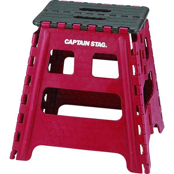 キャプテンスタッグ 折りたためるステップL レッド UW-1504(直送品)