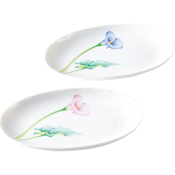 香蘭社 カラーリリー ペア楕円皿 ギフト包装 41061-2FJL(直送品)