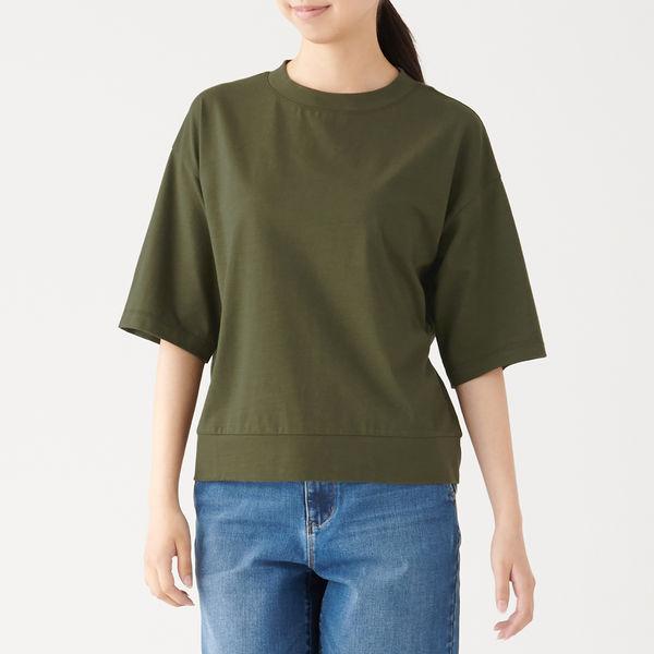 無印 天竺編五分袖Tシャツ 婦人XS~S