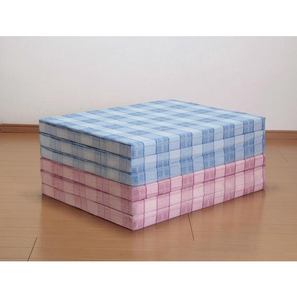 平成化成 日本製 三つ折れバランスマットレス2色組(ピンク+ブルー・シングル) 64031 1セット(2枚組)(直送品)