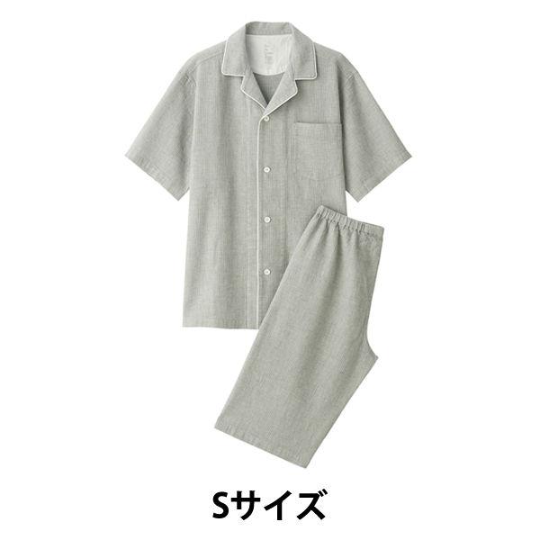 ワッフル織り半袖パジャマ紳士S・グレー