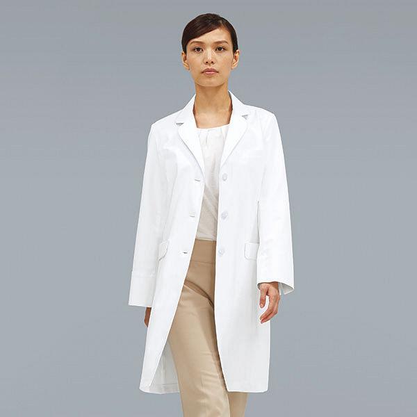 KAZEN レディス診察衣 医療白衣 長袖 ホワイト シングル S KZN129-40 (直送品)