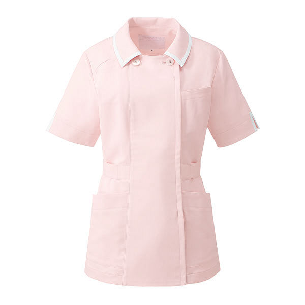 KAZEN レディスジャケット半袖 医療白衣 ピンクxホワイト 11号 YW132-3 (直送品)