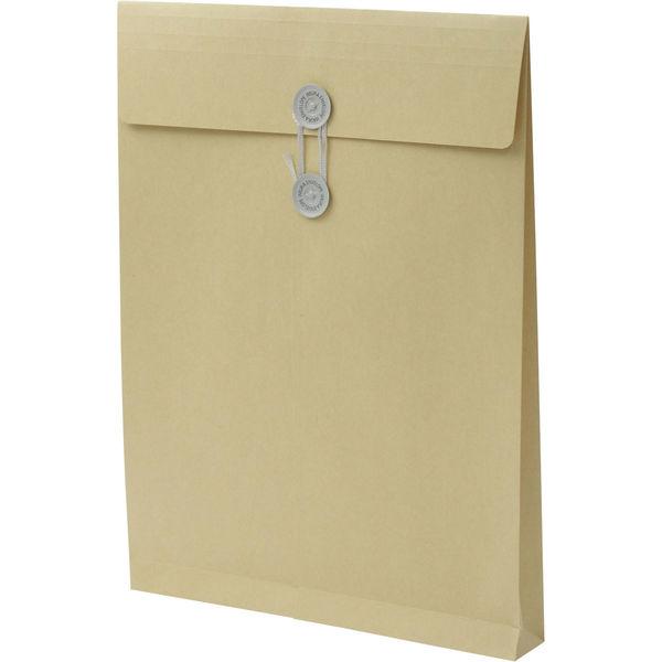 角2 クラフト保存袋 ハトメ紐付 マチ幅35mm BK2102 1箱(100枚) イムラ封筒(直送品)