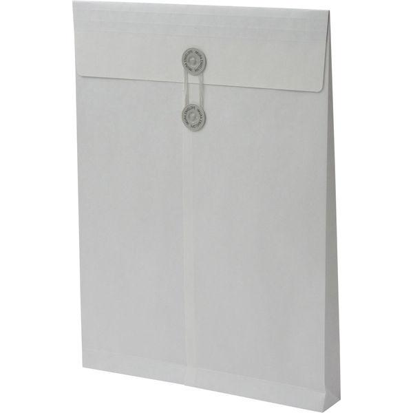 角2 ホワイト保存袋 内地紋付 ハトメ紐付 マチ幅35mm BK21J2 1箱(100枚) イムラ封筒(直送品)