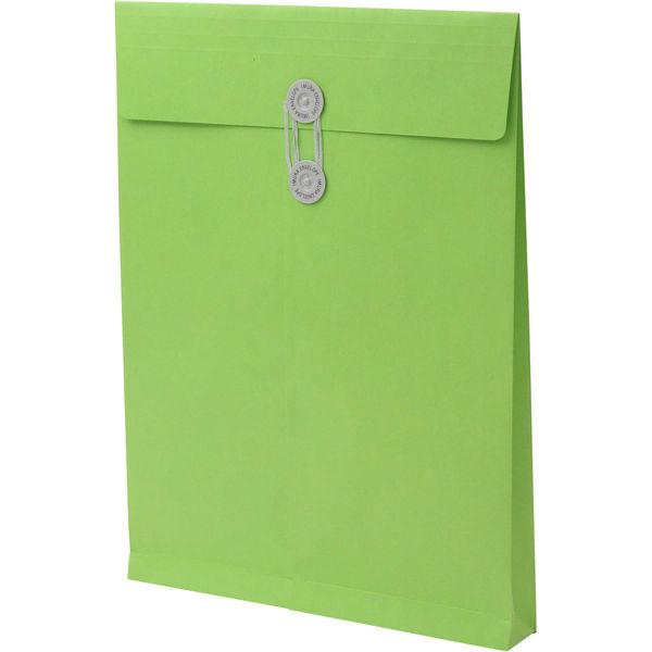 角2 カラークラフトグリーン保存袋 ハトメ紐付 BK2466 1箱(100枚) イムラ封筒(直送品)