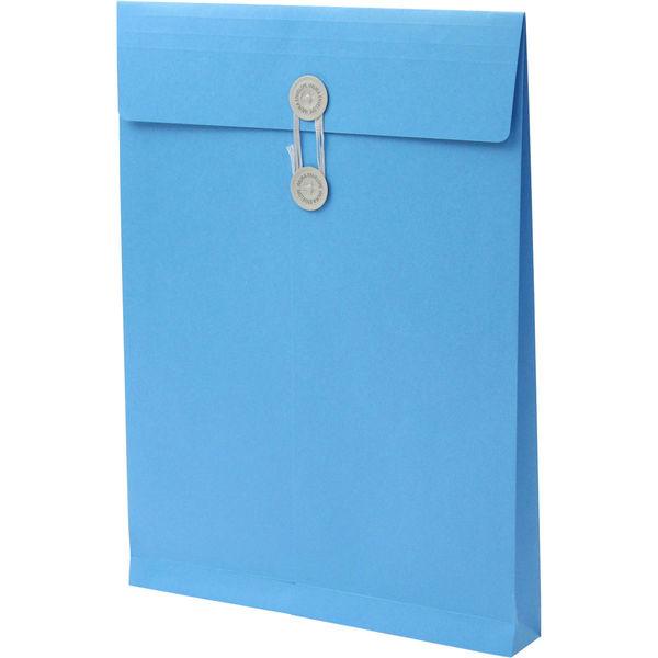 角2 カラークラフトブルー保存袋 ハトメ紐付 BK2467 1箱(100枚) イムラ封筒(直送品)