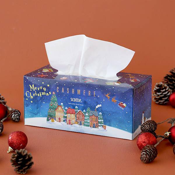 日本製紙クレシア ティッシュペーパー 高品質 220組(1箱) スコッティ カシミヤ クリスマス 1セット(2箱) 日本製紙クレシア