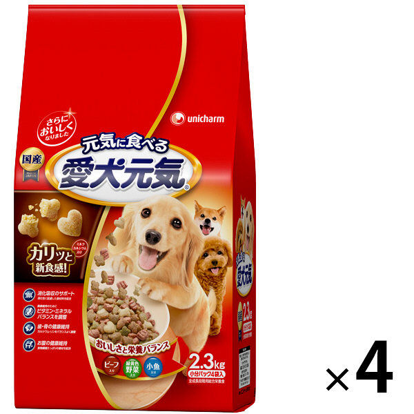 箱売 愛犬元気 ビーフ野菜小魚×4