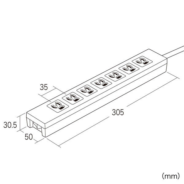 サンワサプライ 電源タップ 2P式(絶縁キャップ付スイングプラグ、アースコード付) 7個口 2m 5個口連動集中スイッチTAP-F37-2KSR 1個(直送品)