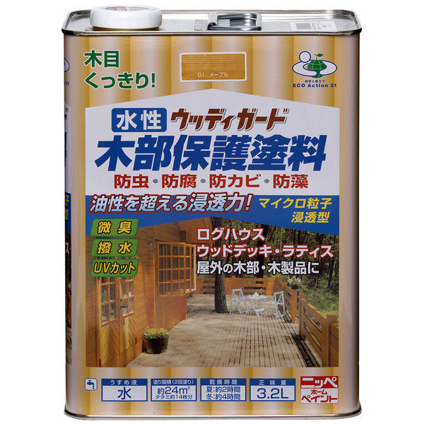 ニッペホームプロダクツ 水性ウッディガード 3.2L マホガニ 4976124532467 (直送品)