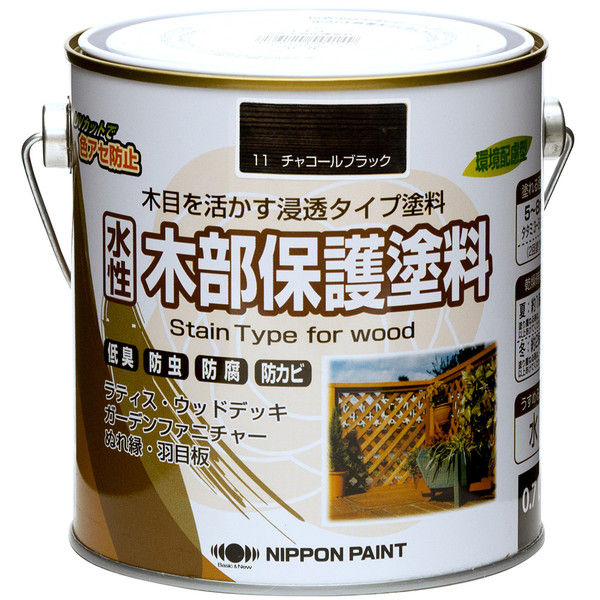 ニッペホームプロダクツ 水性木部保護塗料 0.7L チャコールブラック 4976124544200 1セット(4個入) (直送品)