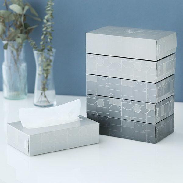 ティッシュペーパー 150組 1パック(6個入)ロハコオリジナル ボックスティッシュ スマートコンパクトS モノトーン