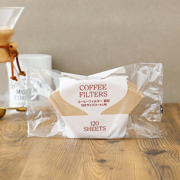 コーヒーフィルター 扇形 102サイズ 無漂白 1袋(120枚入) ロハコ(LOHACO)オリジナル