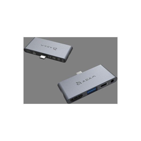 ADAM elements USB TypeーC 4ポートハブ/USB3.1 Gen2 TypeーAポート/HDMI/オーディオジャック/PD充電(直送品)