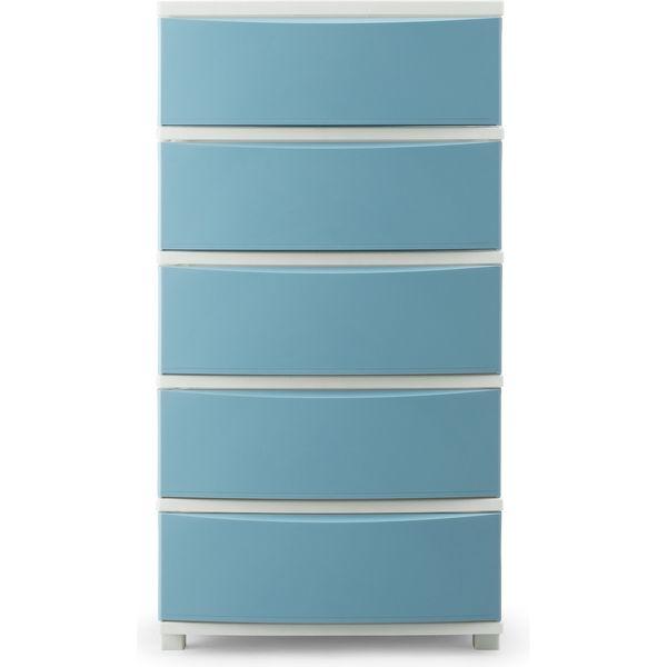 アイリスオーヤマ COLONEチェスト(CLN-545) 5段 ブルー/ホワイト 幅530×奥行380×高さ995mm 1台(直送品)