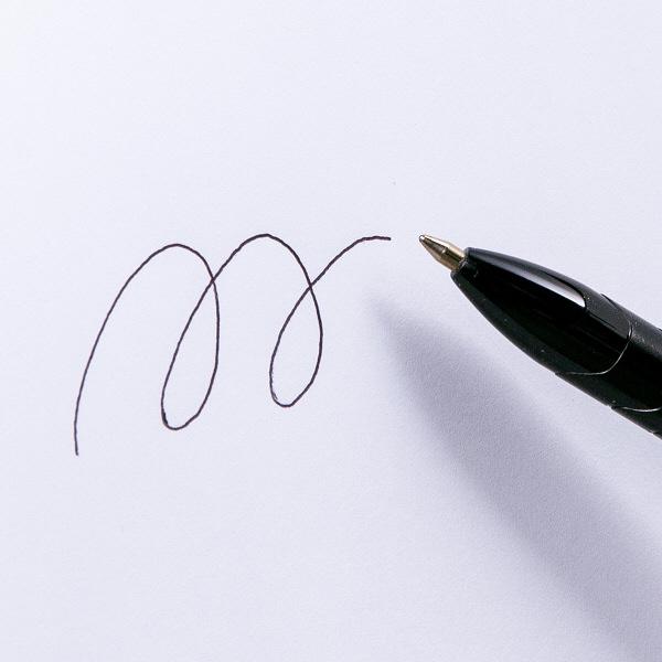 アスクル ノック式油性ボールペン 通し穴付き 0.7mm 黒軸 黒インク 50本