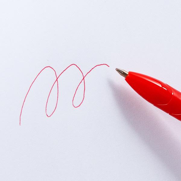 アスクル ノック式油性ボールペン(通し穴付き) 赤軸 0.7mm 赤インク 50本