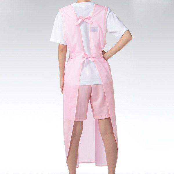 KAZEN 入浴用エプロン(入浴介助用エプロン) ピンク L (ロング丈) 909-93