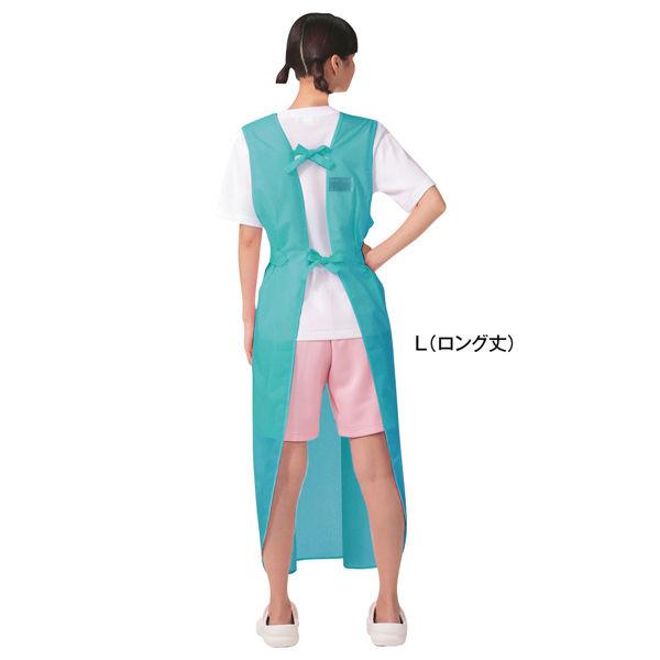 KAZEN 入浴用エプロン(入浴介助用エプロン) グリーン L (ロング丈) 909-92