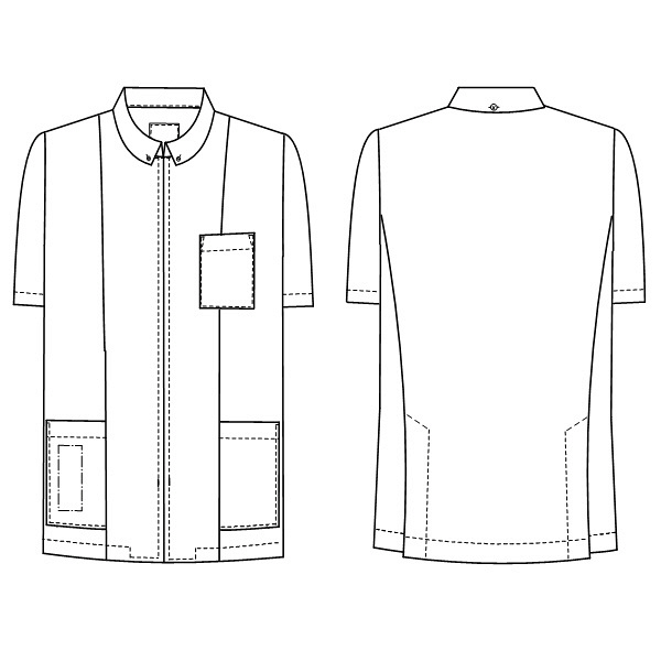 ナガイレーベン 男子上衣(医務衣 ボタンダウンジャケット) 半袖 ブルー LL HO-1957 (取寄品)