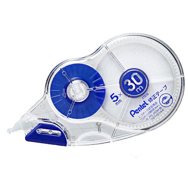 ぺんてる 30m修正テープ 使い切り 5mm幅 青 XZT515-W 1箱(10個入)
