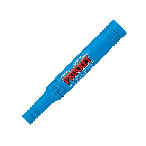 プロッキー 水性ペン 太・細ツイン 水色 10本 三菱鉛筆 uni