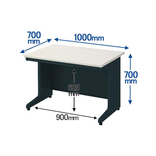 プラス 組立式スチールOAデスクシステム 平机 引出し付き ダークエルグレー 幅1000×奥行700×高さ700mm 1台 (取寄品)