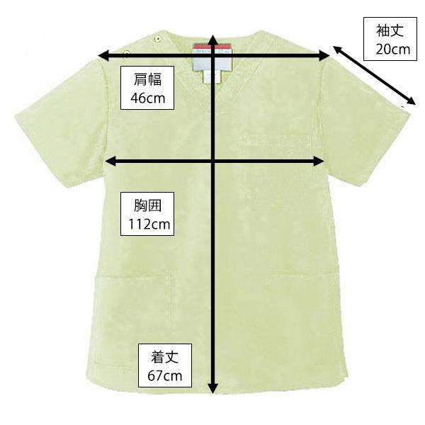 KAZEN カラースクラブ(男女兼用) 医療白衣 半袖 ミントグリーン M 133-96 (直送品)