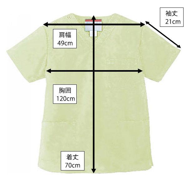 KAZEN カラースクラブ(男女兼用) 医療白衣 半袖 ミントグリーン L 133-96 (直送品)