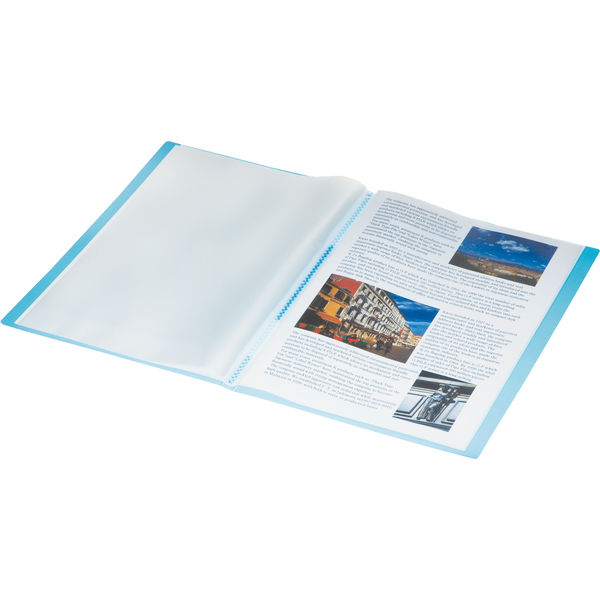 キングジム シンプリーズ クリアーファイル(透明) 青 A4タテ 40ポケット 186TSPWアオ 1セット(24冊:8冊入×3箱)