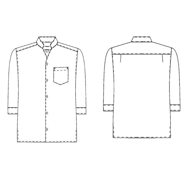 KAZEN(カゼン) 事務服 ユニセックス 大きいサイズ 七分袖シャツ ホワイト LL 626 1枚