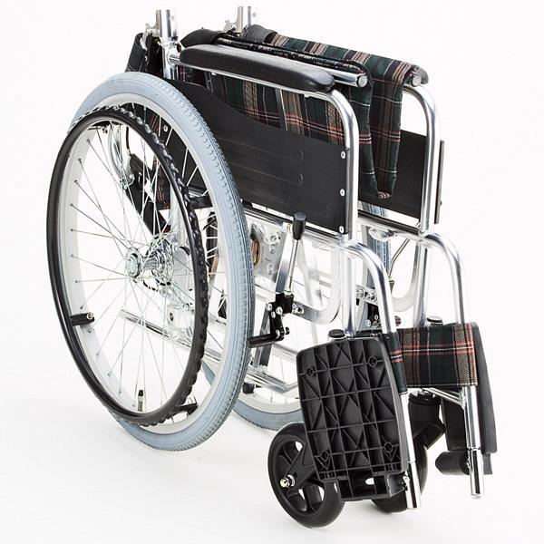 マキテック KS50 グリーンチェック KS50-4043GC 自走用 背折れ式 アルミ製 介助ブレーキ付き (取寄品)