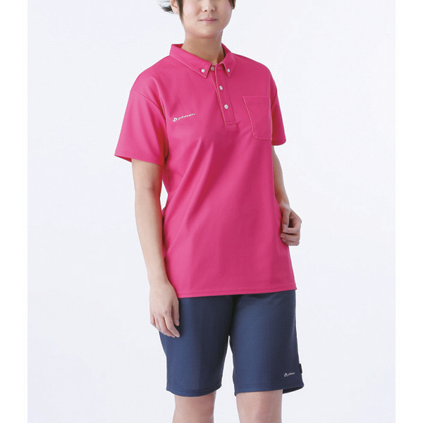 フットマーク×ファイテン 介護ウェア ボタンダウンシャツ ピンク L (取寄品)