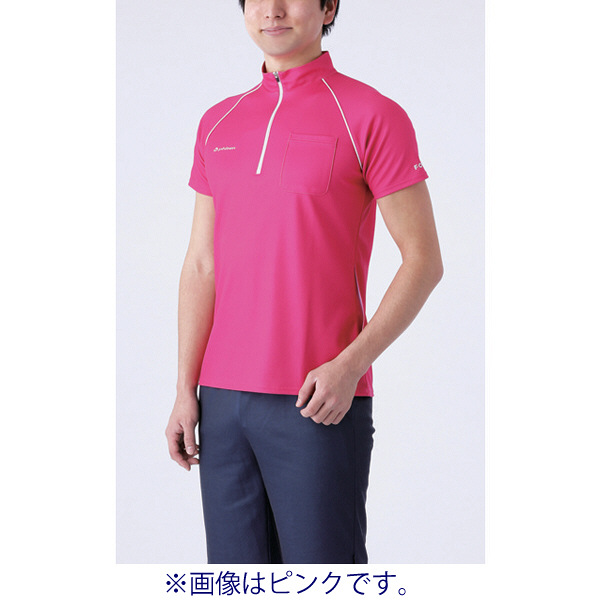 フットマーク 介護ウェア ジップアップシャツ ホワイト L (取寄品)