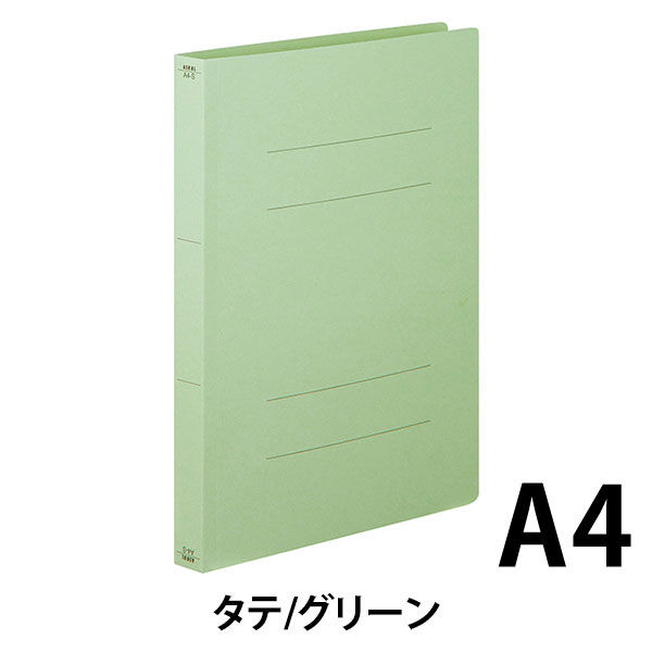 フラットファイル厚とじ 緑A4縦 10冊