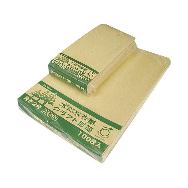 菅公工業 間伐紙クラフト封筒 シ127 長3 100枚 郵便番号枠あり (直送品)