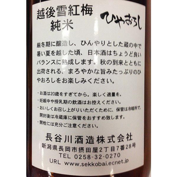 長谷川酒造 越後雪紅梅 ひやおろし純米