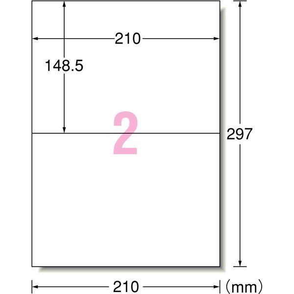 エーワン ラベルシール[レーザープリンタ]A4 2面 66202 1袋(100シート入) (取寄品)