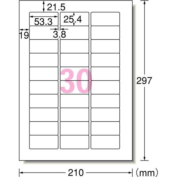 エーワン ラベルシール 水に強い パッケージラベル インクジェット 光沢フィルム 白 A4 30面 1袋(3シート入) 28983(取寄品)