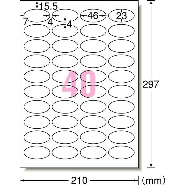 エーワン ラベルシール しっかり貼れてキレイにはがせる パッケージラベル プリンタ兼用 マット紙白標準 A4 40面 1袋(10シート入) 51594(取寄品)