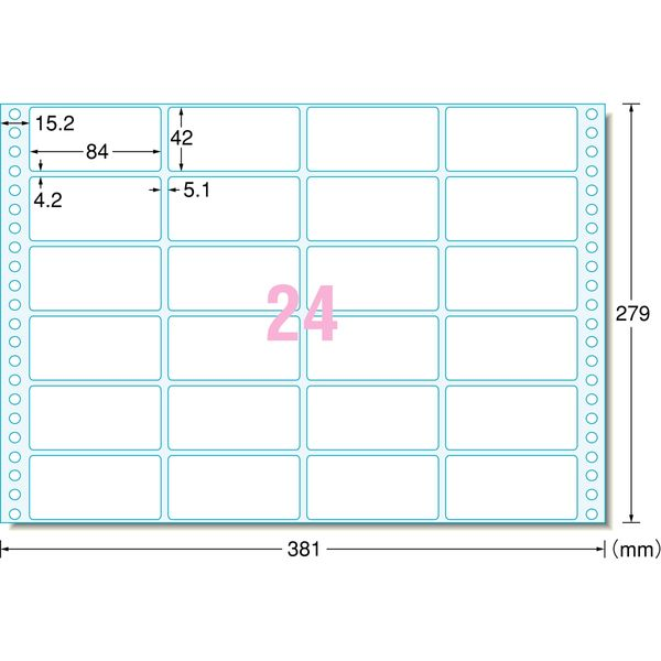 エーワン コンピュータフォームラベル 15インチ幅 24面 28015 1袋(500シート入) (取寄品)