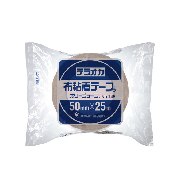 寺岡製作所 カラーオリーブテープ(カラー布テープ)No.145 赤 1巻 幅50mm×長さ25m 厚さ0.31mm