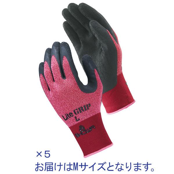 天然ゴム背抜き手袋 簡易包装ライトグリップ M レッド 5双 「現場のチカラ」 341 ショーワグローブ