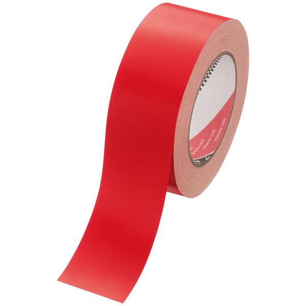 寺岡製作所 カラーオリーブテープ(カラー布テープ) No.145 赤 1セット(5巻) 幅50mm×長さ25m 厚さ0.31mm