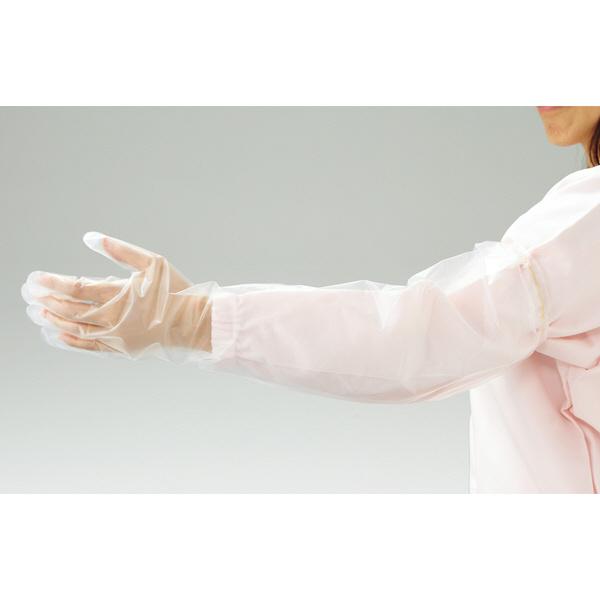 リーブル ポリエチレン手袋 ロングタイプ ゴム袖 クリア No.2660 (使い捨て手袋)